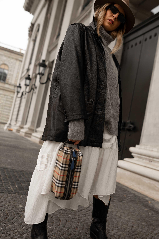 pullover über kleid - der layering trend 2019